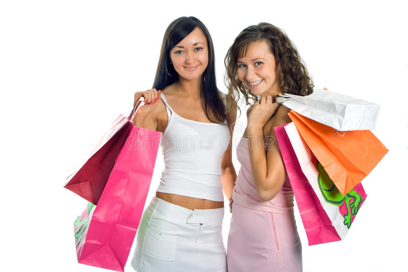 色的女朋友程序包peauty购物 免版税图库摄影
