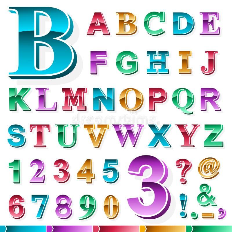 色的字母表和数字成套  向量例证