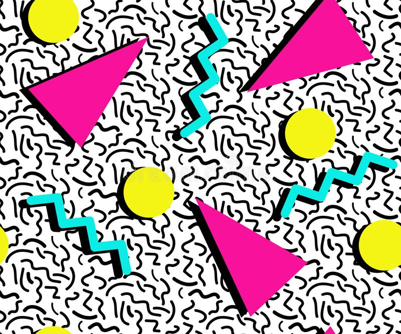 色的孟菲斯样式无缝的样式 几何元素纹理 80S-90S在白色背景的设计 免版税库存照片