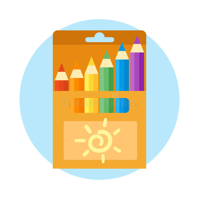 色的工程处和铅笔导航例证简单的设备学校用品主题秘书工具 皇族释放例证