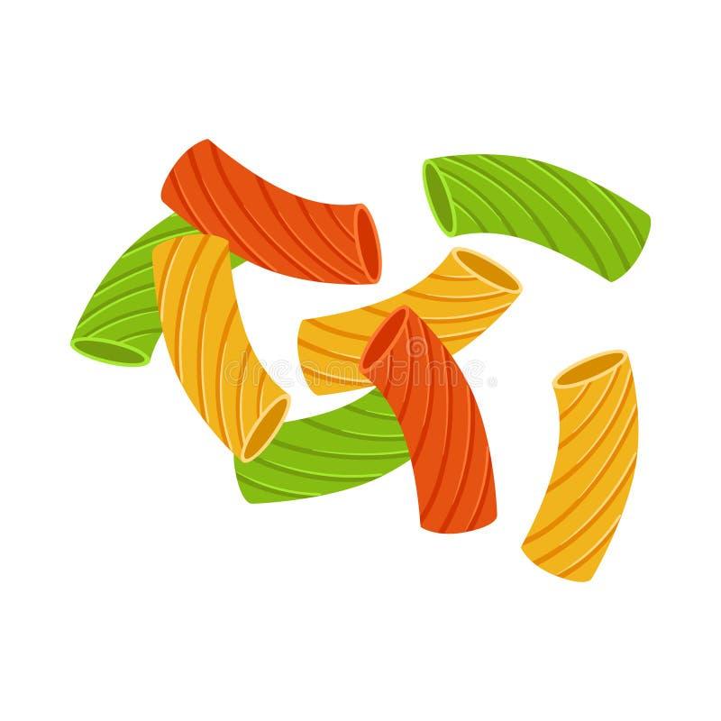 色的干手肘通心面 未煮过的意大利面团,通心面,动画片例证 向量例证