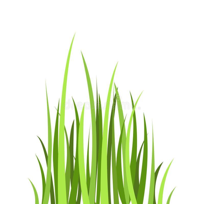 色的平的象,传染媒介设计 动画片绿草 向量例证