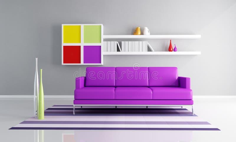 色的当代客厅 库存例证