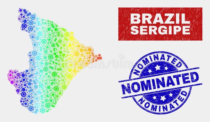 色的彩虹装配塞尔西培州状态地图并且困厄被提名的邮票封印 库存例证