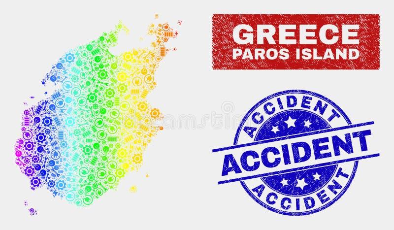 色的彩虹装配帕罗斯岛海岛地图和被抓的事故邮票封印 向量例证