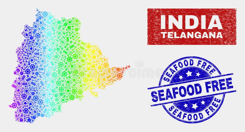 色的彩虹装配泰伦加纳状态地图和被抓的海鲜自由封印 向量例证