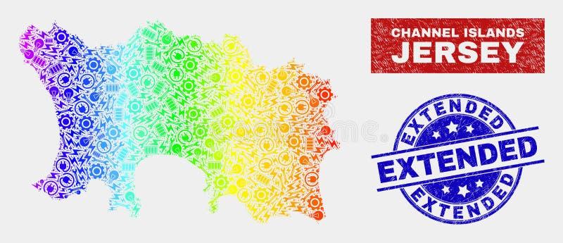 色的彩虹装配泽西海岛地图和难看的东西延长的邮票 库存例证