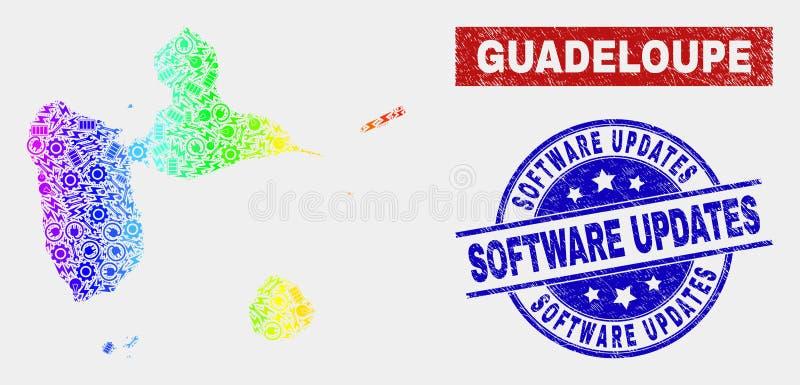 色的彩虹装配瓜德罗普地图和被抓的软件更新邮票 皇族释放例证