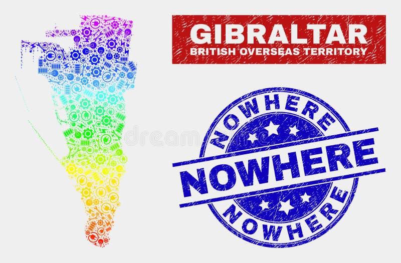 色的彩虹装配直布罗陀地图和被抓的无处封印 库存例证
