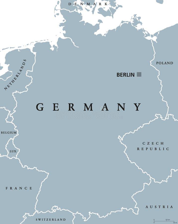 德国政治地图 与英国标记和称的灰色例证在白色背景 向量 向量, 欧洲图片