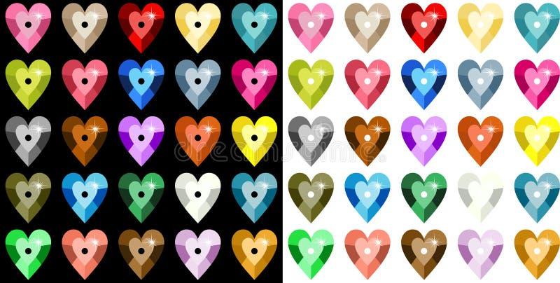 色的心脏衣服饰物之小金属片 向量例证
