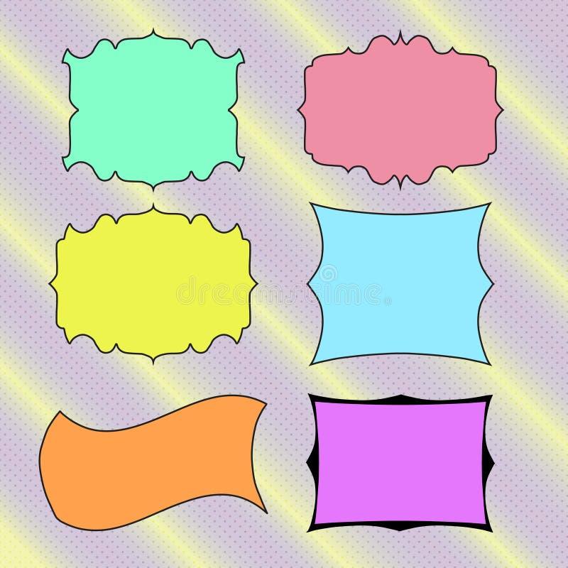 色的手拉的横幅,文本的框架 向量 皇族释放例证