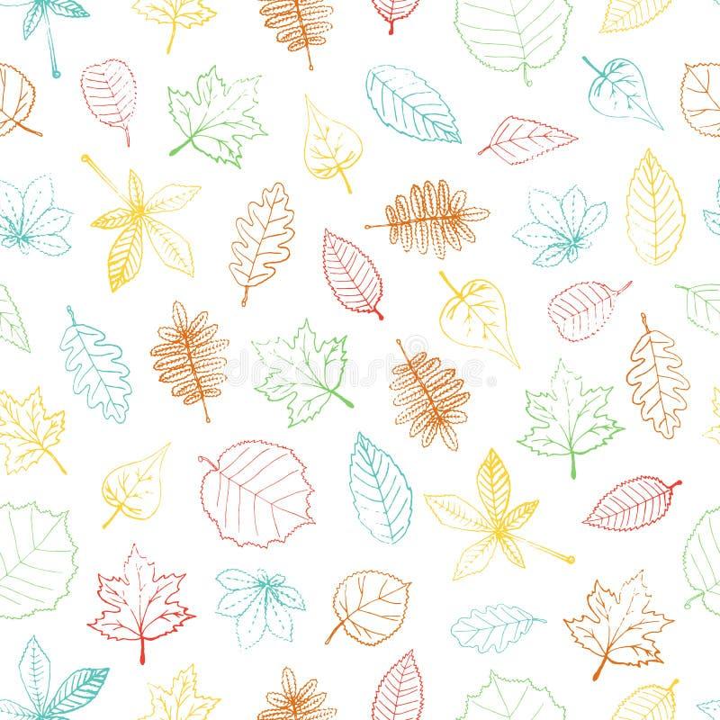 色的手拉的织地不很细叶子的传染媒介无缝的样式 皇族释放例证
