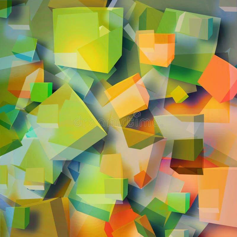 色的抽象立方体 向量例证