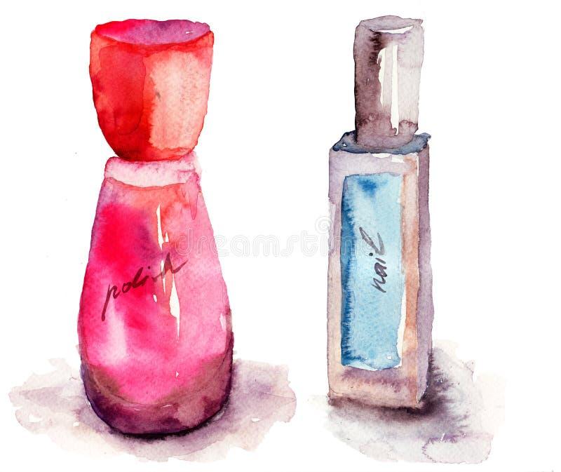 色的指甲油瓶 皇族释放例证