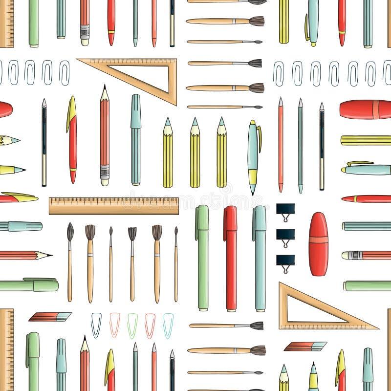 色的文具的传染媒介无缝的样式 向量例证