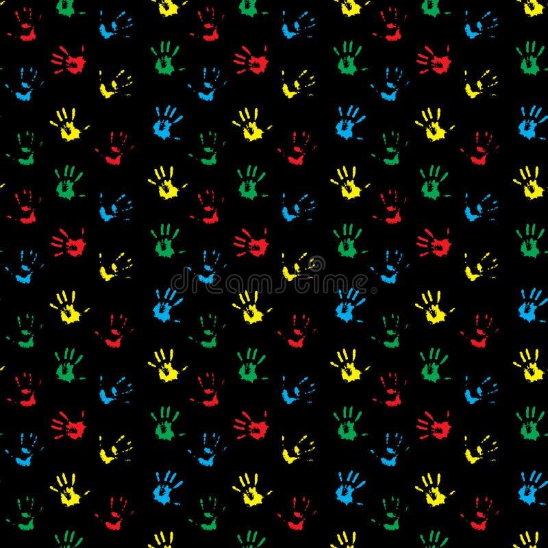 色的无缝的样式手印刷品 库存例证