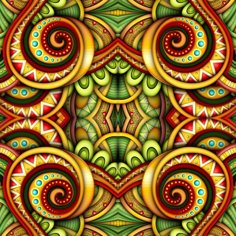 色的无缝的瓦片样式,意想不到的万花筒 向量例证