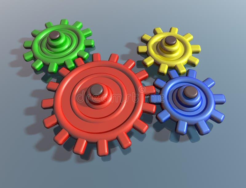 色的明亮嵌齿轮互锁 库存例证
