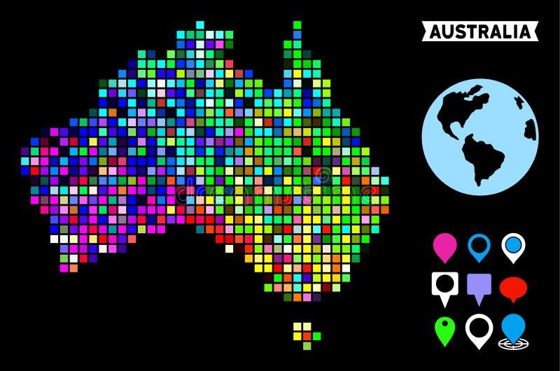 色的映象点澳大利亚地图 向量例证