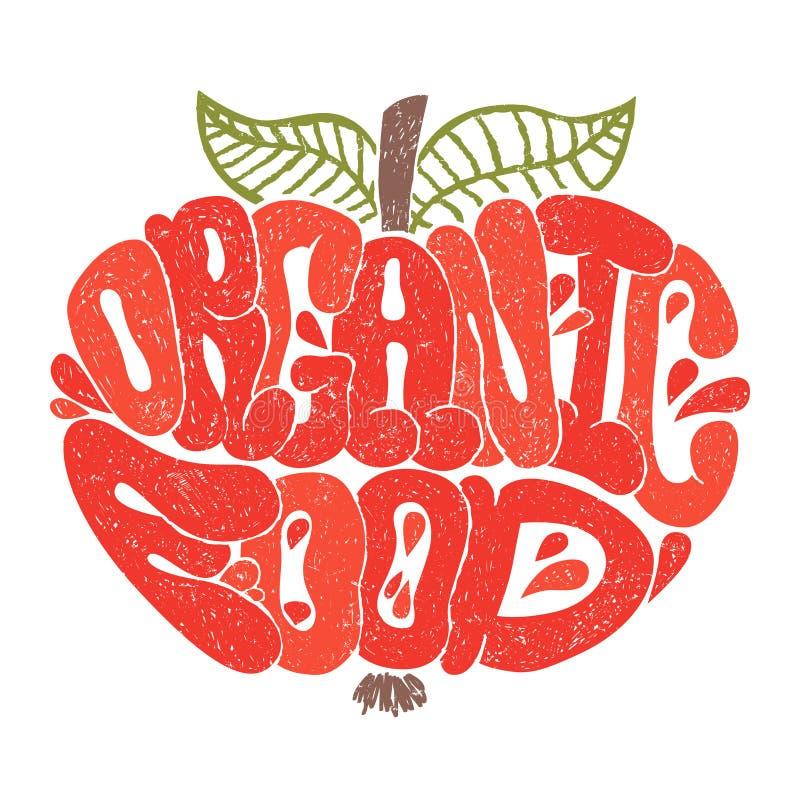 色的有机食品 在苹果形状的信件 有机食品背景 库存例证