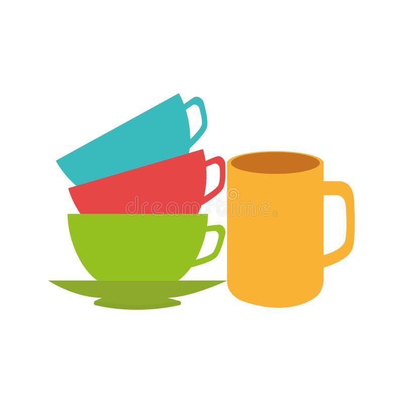 色的杯子在其他顶部 向量例证