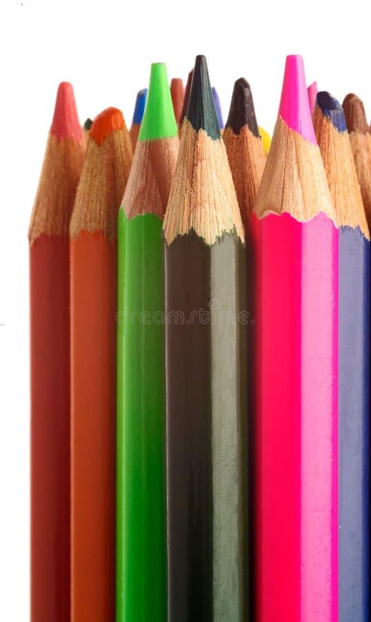 色的查出的铅笔直立的东西 免版税图库摄影