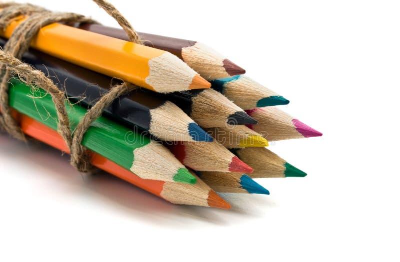 色的查出的铅笔 免版税库存图片