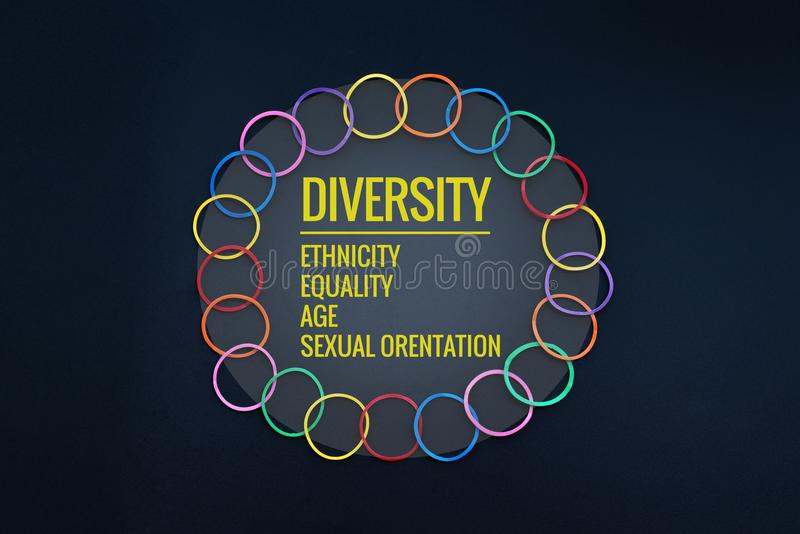 色的概念分集前面灰色对象一 混合在黑背景的五颜六色的橡皮筋儿以文本变化,种族,平等,年龄,性意向 免版税图库摄影