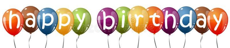 色的气球与文本生日快乐 向量例证