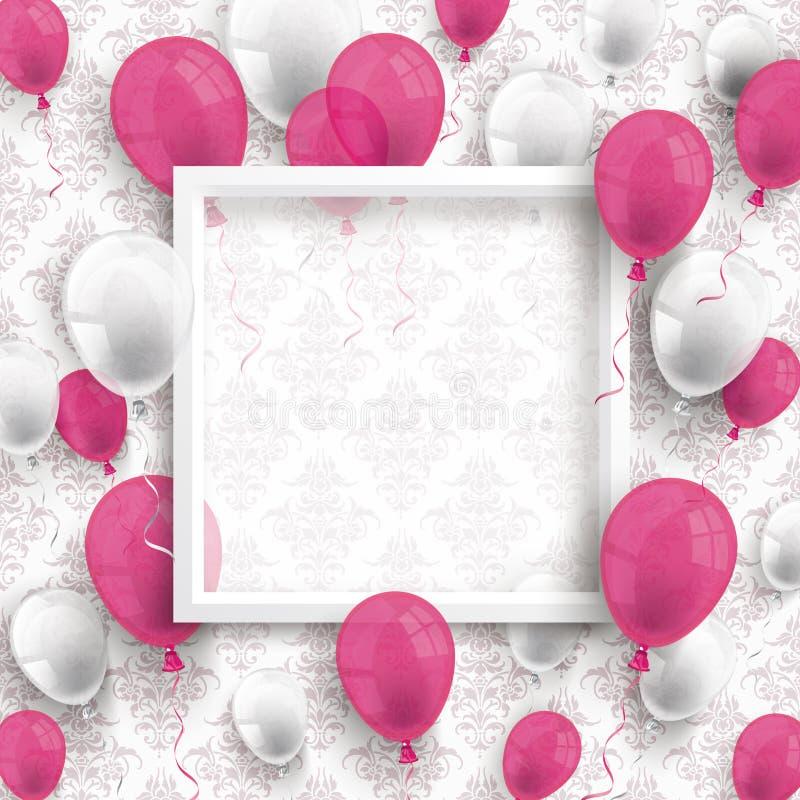 色的气球白色框架装饰墙纸 皇族释放例证