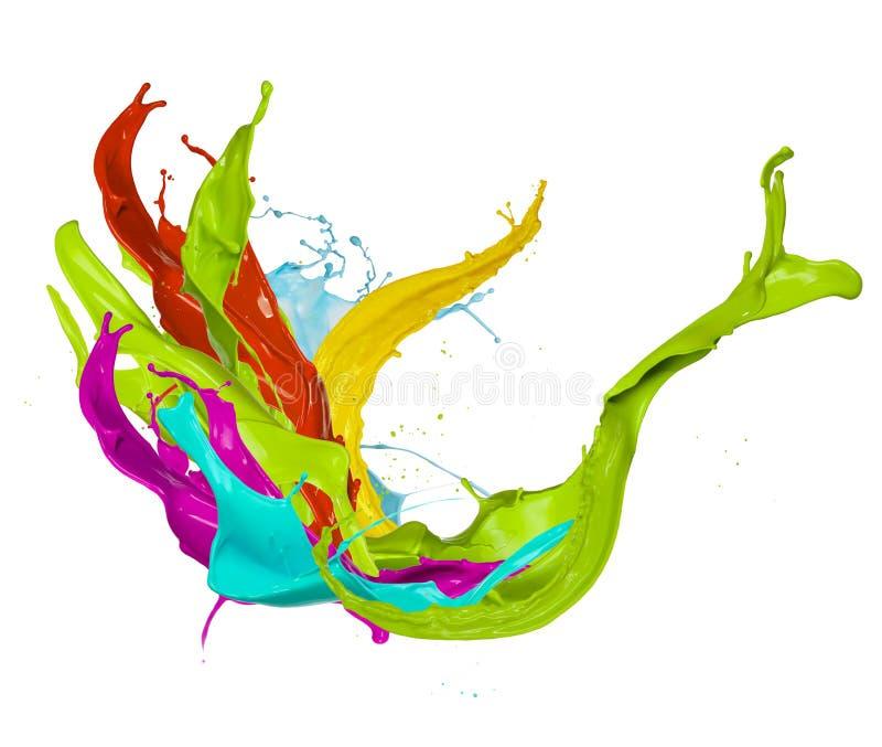 色的油漆飞溅,隔绝在白色背景 库存图片