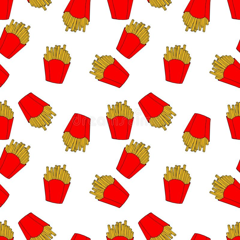 色的炸薯条的样式在动画片样式的 菜单设计、织品和墙纸的手拉的例证 向量例证