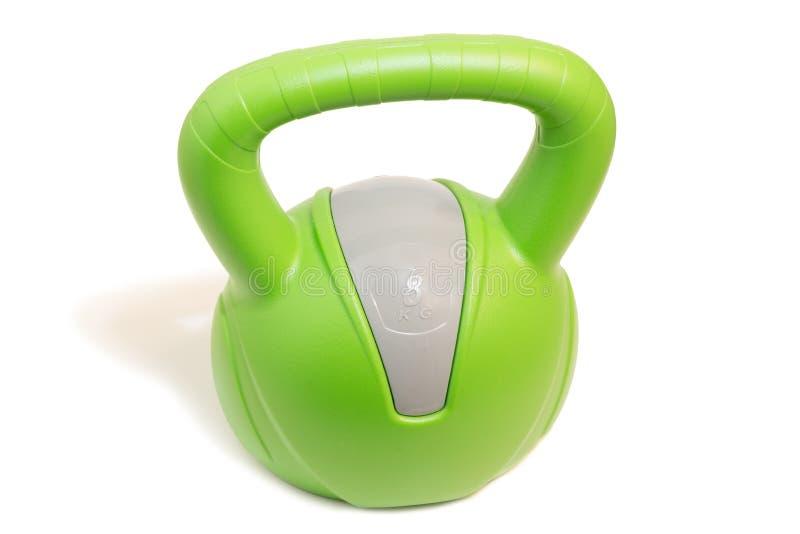 绿色的特写镜头8 kg kettlebell 免版税库存图片