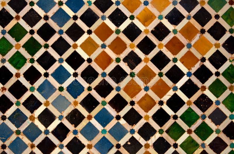 色的瓦片在Nasrid宫殿,阿尔罕布拉宫,格拉纳达,西班牙 库存图片