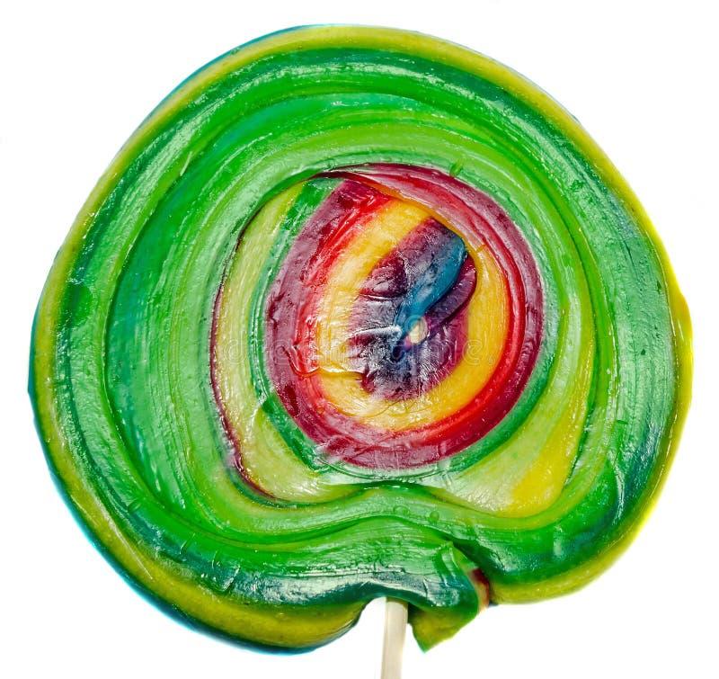 色的甜糖果,棒棒糖棍子,圣尼古拉甜点,被隔绝的圣诞节candys,白色背景 免版税库存照片