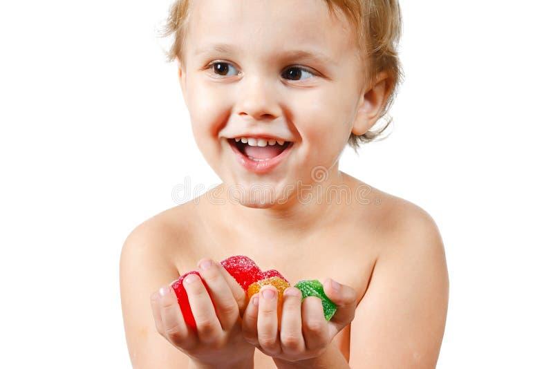 色的男孩糖果结冻一点 免版税库存图片