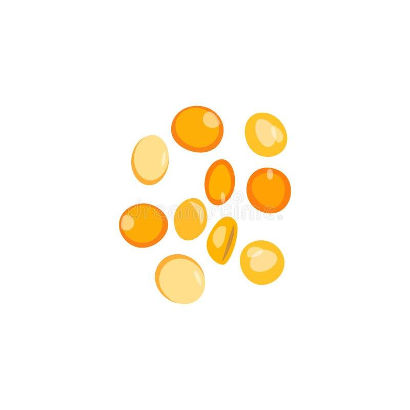 色的石头,珍贵的宝石,玻璃球,黄色 向量例证