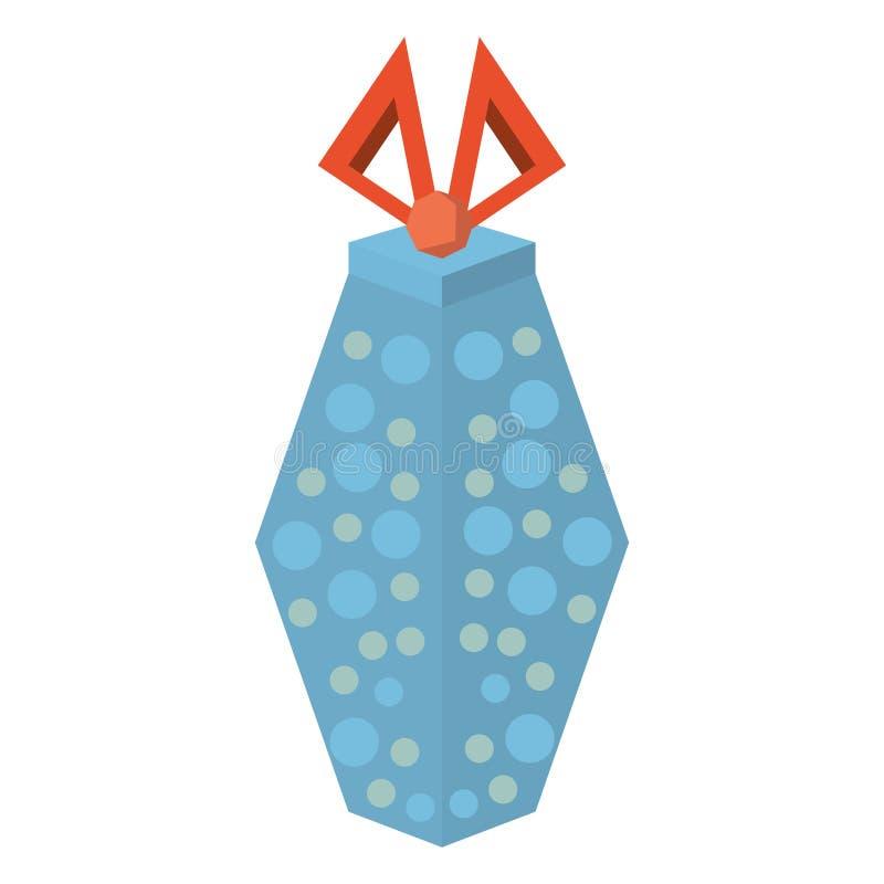 色的礼物盒样式蓝色加点了红色丝带 库存例证