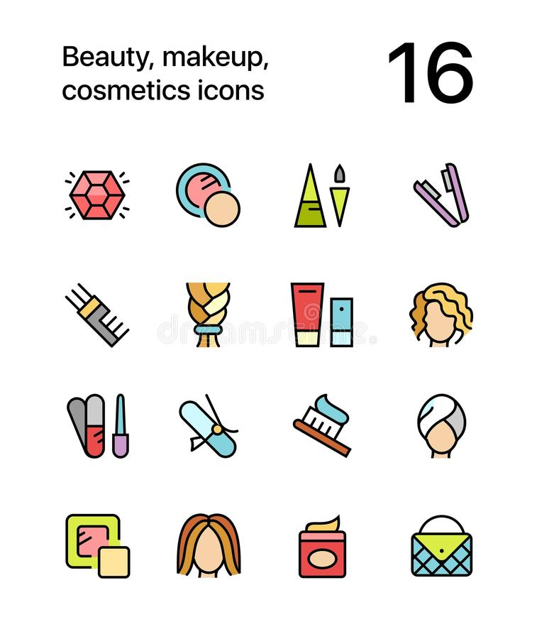色的秀丽、化妆用品、构成象网的和流动设计组装4 库存例证