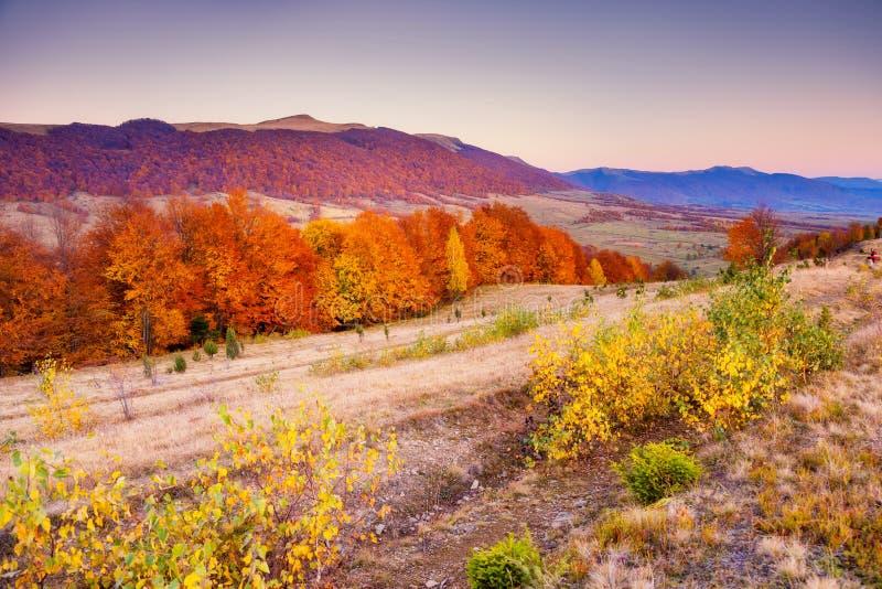色的秋天山 库存照片