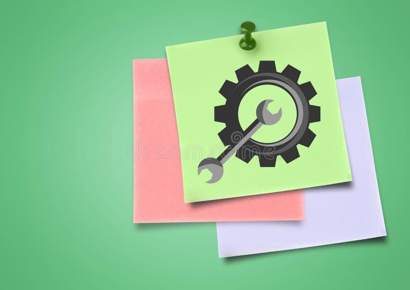色的稠粘的笔记设置嵌齿轮象的综合图象反对绿色背景的 向量例证