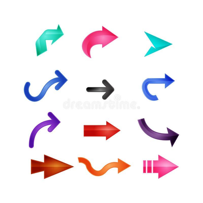 色的箭头商标集合传染媒介 向量例证