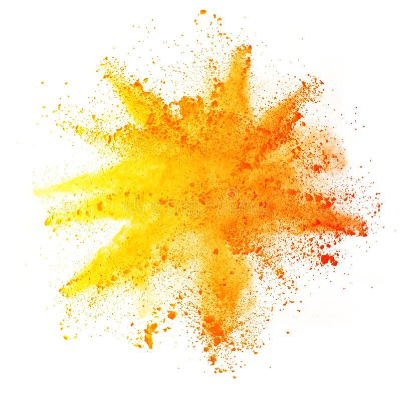 色的粉末爆炸在白色背景的 库存图片