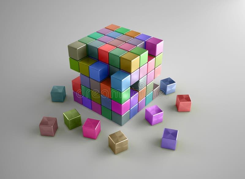 色的粉碎的多维数据集 向量例证