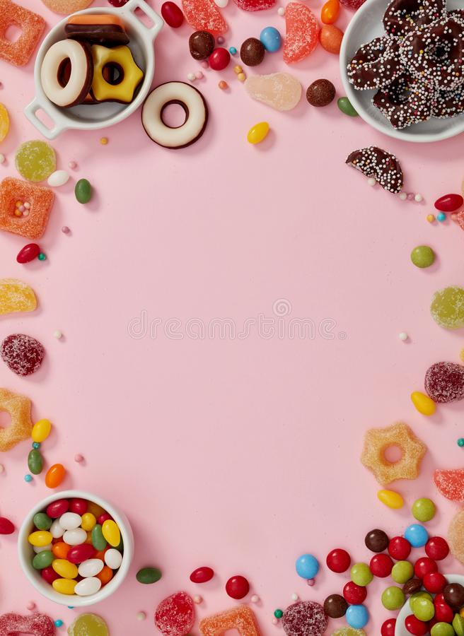 色的糖果框架 图库摄影