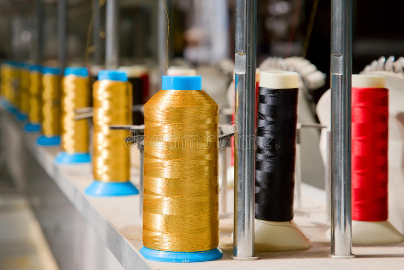 色的织品短管轴 库存照片