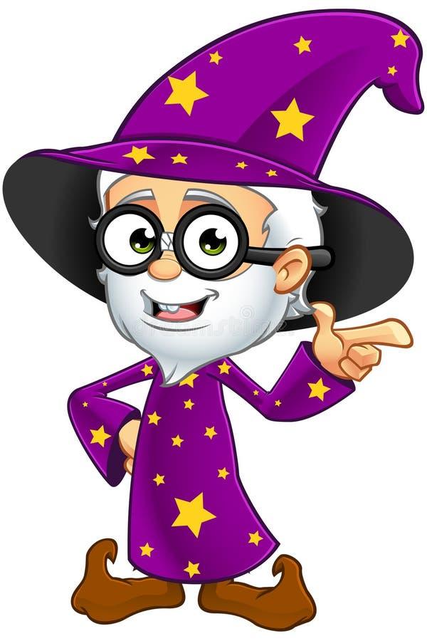 紫色的老巫术师-指向 库存例证