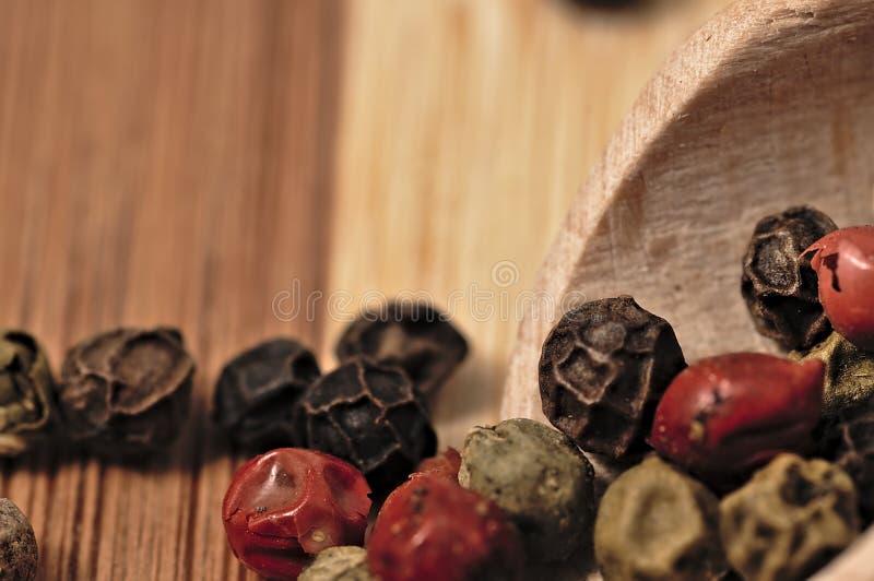 色的胡椒五谷在一个木板条的 库存照片