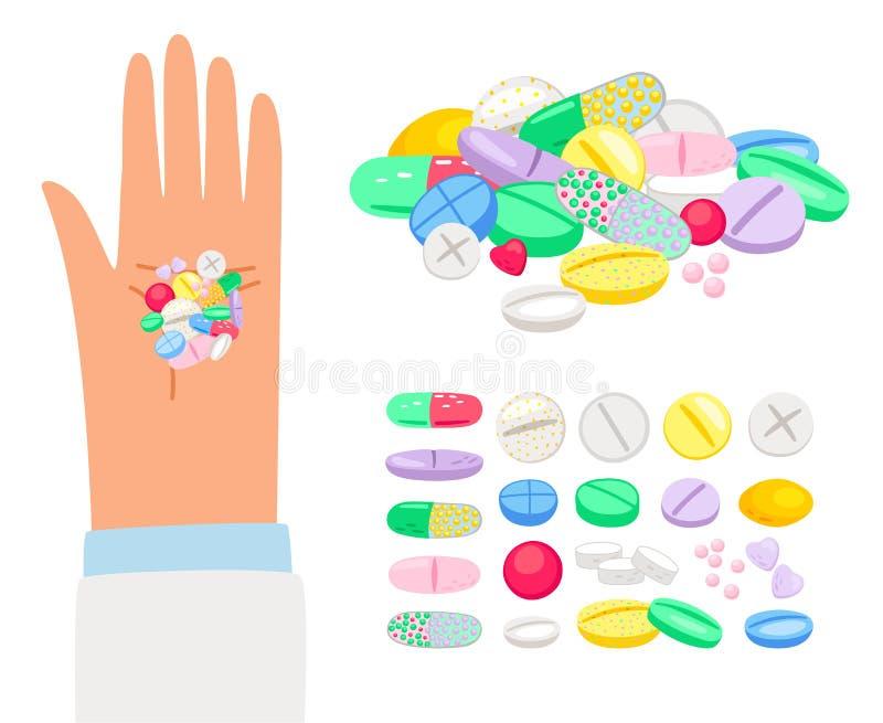 色的药片和片剂在人的手上 向量例证